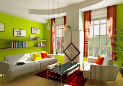 Gröna gardiner i vardagsrum